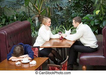 ragazza, fondo, pianto, seduta, caffè, felice, coppia.