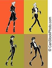 ragazza, fondo., sketch-style, colorito, moda