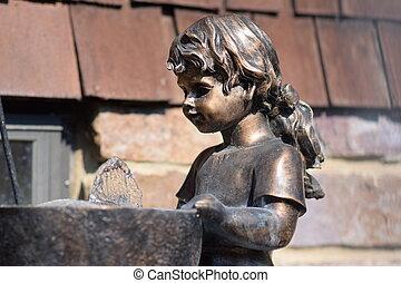 ragazza, fontana, giovane
