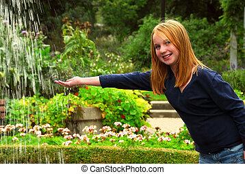 ragazza, fontana