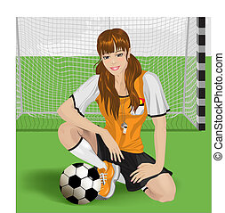 ragazza, football, seduta
