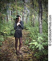 ragazza, foresta, fata
