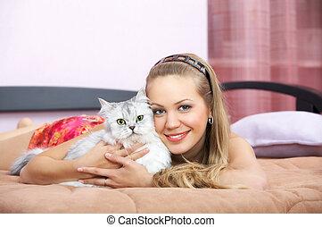 ragazza, gatto