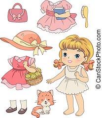 ragazza, gatto,  retro, capretto, bambola