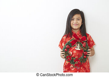 ragazza, ghirlanda, asiatico, natale