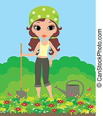 ragazza, giardiniere