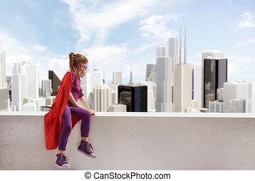 ragazza, giochi, superhero