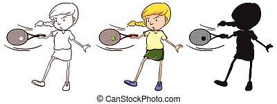 ragazza, gioco, disegni, tre, tennis