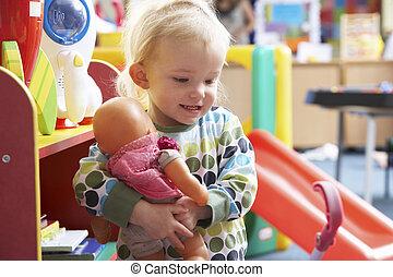 ragazza, gioco, giovane, giocattoli
