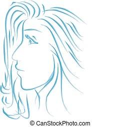 ragazza, giovane, bello, profilo