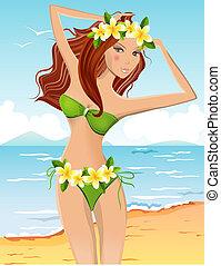 ragazza, giovane, hawaiano, bikini, ghirlanda floreale