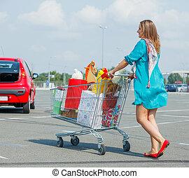 ragazza, giovane, supermercato