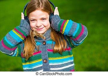 ragazza, godere, musica