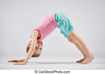 ragazza, godere, yoga