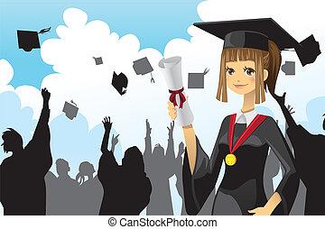 ragazza, graduazione, presa a terra, diploma