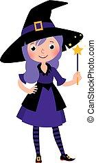 ragazza, halloween, magia, costume, bacchetta, strega