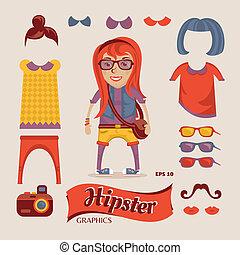 ragazza, hipster, accessori, carino