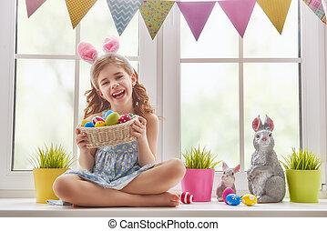ragazza, il portare, orecchi coniglietto