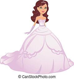 ragazza, il portare, principessa, veste, cartone animato