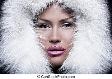 ragazza, il portare, ritratto, bianco, bello, pelliccia