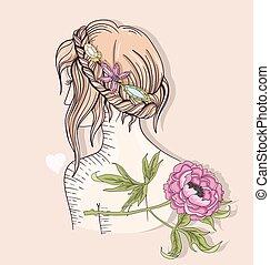 ragazza, illustration., moda, carino