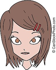ragazza, illustrazione, faccia