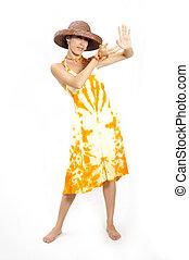 ragazza, in, estate, moda