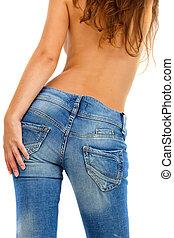 ragazza, in, jeans