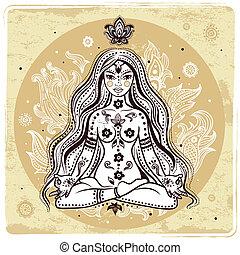 ragazza, in, meditazione