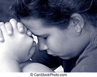 ragazza, in, preghiera