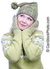 ragazza, in, riscaldare, vestiti