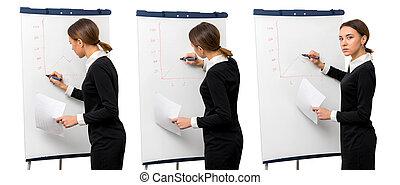 ragazza, in, ufficio, disegnare, grafica