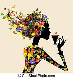 ragazza, in, uno, modello, di, fiori, con, uno, tazza