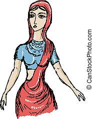 ragazza, indiano