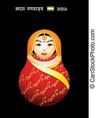 ragazza, indiano, matryoshka