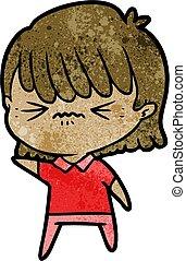 ragazza, infastidito, cartone animato