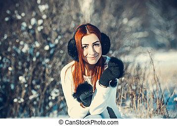 ragazza, inverno, fuori