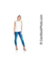 ragazza, isolato, jeans, proposta, attraente, bianco, biondo