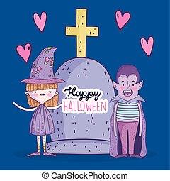 ragazza, lapide, strega, halloween, felice, celebrazione, dracula, ragazzo