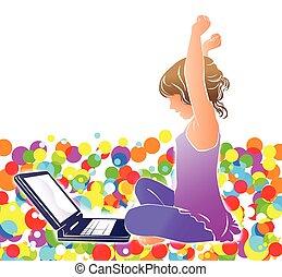 ragazza, laptop, luminoso, fondo, felice