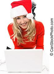 ragazza, laptop, natale