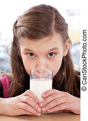 ragazza, latte, bere, giovane