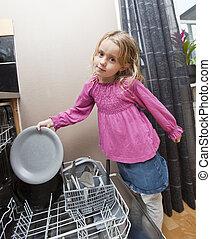 ragazza, lavapiatti, giovane