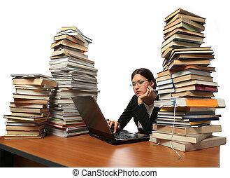 ragazza, libri, computer, lotto