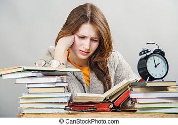 ragazza, libri, lettura, studente, occhiali