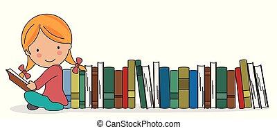 ragazza, libri, lotto, lettura