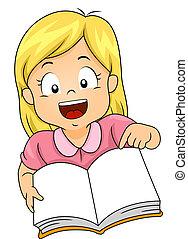 ragazza, libro, aperto, capretto