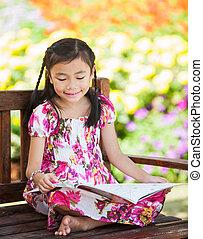 ragazza, libro, lettura, asiatico