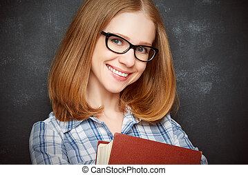 ragazza, libro, occhiali, lavagna, felice, studente