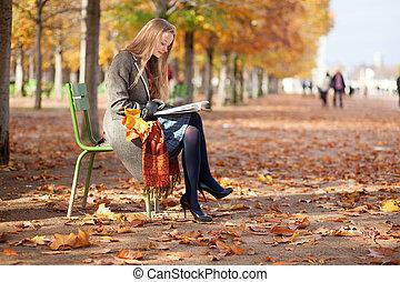 ragazza, libro, parco, lettura